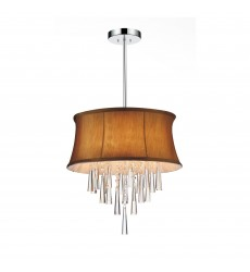 CWI- Audrey 4 Light Drum Shade Chandelier with Chrome finish (5532P16C (Brown))