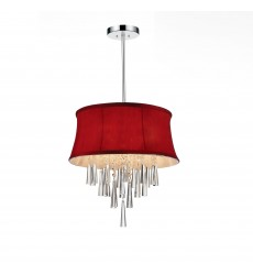 CWI- Audrey 4 Light Drum Shade Chandelier with Chrome finish (5532P16C (Rose Red))