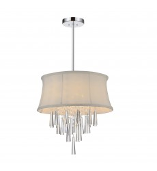 CWI- Audrey 4 Light Drum Shade Chandelier with Chrome finish (5532P16C (White))