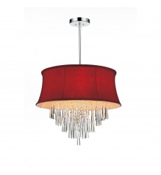 CWI- Audrey 6 Light Drum Shade Chandelier with Chrome finish (5532P19C (Rose Red))