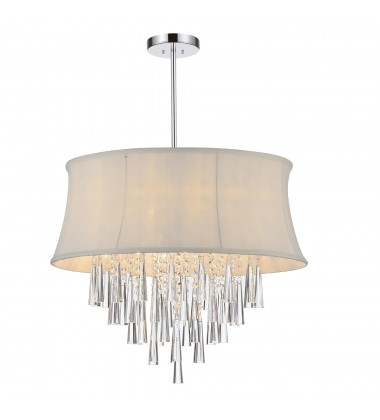 CWI- Audrey 6 Light Drum Shade Chandelier with Chrome finish (5532P19C (White))