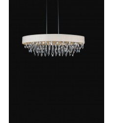 Excel 8 Light Drum Shade Chandelier with Chrome finish (5534P41C White)