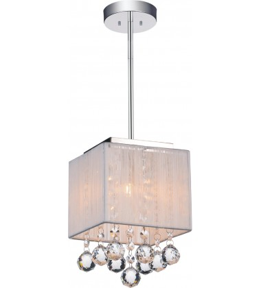 Shower 1 Light Drum Shade Mini Pendant with Chrome finish (5556P6C-S-1 (W))