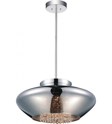 Scope 5 Light Drum Shade Chandelier with Chrome finish (5607P19C-E Smoke)