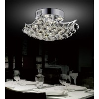 CWI- Queen 4 Light  Flush Mount with Chrome finish (8038C10C-S)