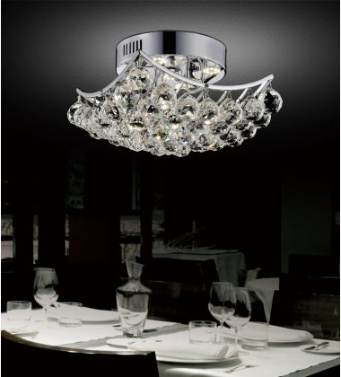 CWI - Queen 4 Light  Flush Mount with Chrome finish (8038C10C-S)