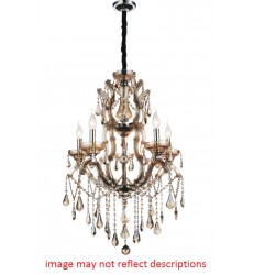 Abby 5 Light Up Chandelier with Chrome finish (8398P24C-5(Smoke))