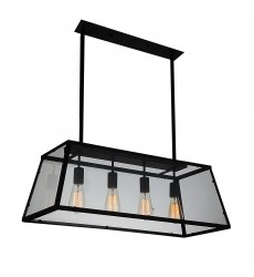Alyson 4 Light Down Chandelier with Black finish (9601P31-4-101) - CWI Lighting