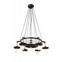 CWI- Prado 7 Light Down Chandelier with Blackened Copper finish (9723P35-7-211)