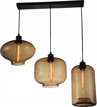 Topaz 3 Light Multi Light Pendant with Black finish (9815P30-3-101)