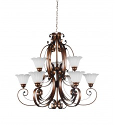 CWI- Victoria 9 Light Up Chandelier with Antique Gold finish (9822P40-9-124)