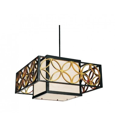 CWI- Eva 2 Light Drum Shade Chandelier with Golden Line Bronze finish (9838P21-2-S-129)