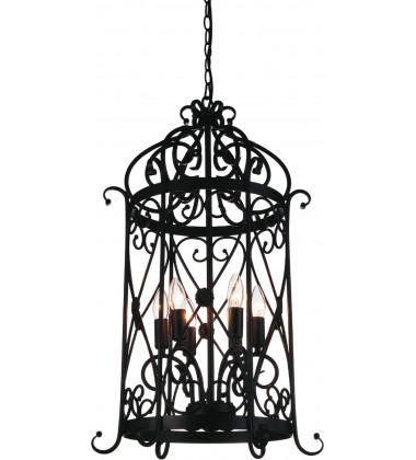 CWI- Kate 6 Light Up Chandelier with Black finish (9899P18-6-101)