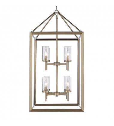 Smyth 8 Light Pendant (White Gold & Clear Glass) (2073-8P WG-CLR)