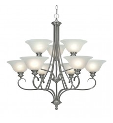 GL - Lancaster 2 Tier - 9 Light Chandelier (6005-9 PW)