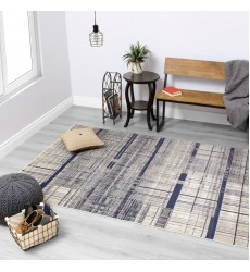 Kalora - Alaska Grey Blue Distressed Hatching Rug (4951/42 160230)