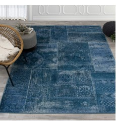 Kalora - 7x10 Antika Brilliant Teal Patchwork Floor Cloth Rug (H290/113 200300)