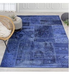 Kalora - Antika Brilliant Navy Patchwork Floor Cloth Rug (H290/117 200300)