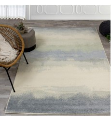 Kalora - Focus Cream Blue Distressed Banded Rug (B540/9323 60230)
