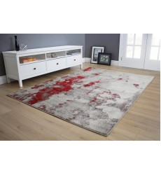 Kalora - Freemont Grey/Red Abstract Expression Rug (A006/0323 60110)