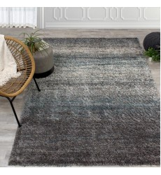 Kalora - Maroq Grey/Blue Distressed Stripes Soft Touch Rug (6004/3A38 60230)