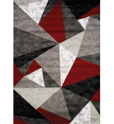 Kalora - Platinum Red/Grey/Black Triangles Rug (3397/51 60230)