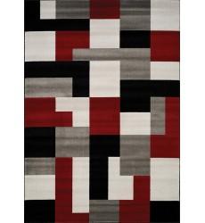 Kalora - Platinum Red/Black/Grey Blocks Rug (3650/64 80150)