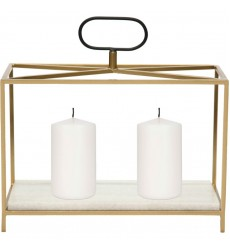 Flye CAN153 White Marble Gold Black Candle Holder - Renwil