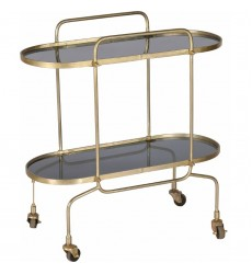 Caboto TA269 - Bar Cart - Smoky Glass, Antique Brass - Renwil