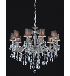 10 Light crystal chandelier (E12) candelabra 40w w/ black or white fabric shade (1122C10)