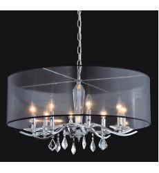 8 Light crystal chandelier (E12) candelabra 40w  black organza shade  w/chains (1132C8-BK)