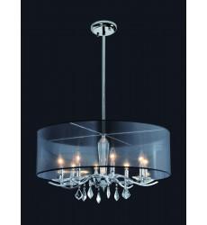 8 Light crystal chandelier (E12) candelabra 40w  black organza shade  w/rods (1132C8-BK-R)
