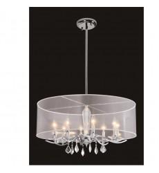 8 Light crystal chandelier (E12) candelabra 40w  white organza shade w/ chains (1132C8-WH)