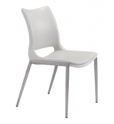 Ace Dining Chair White &  Brushed Stainless Steel (101279) - Zuo Modern