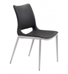 Ace Dining Chair Black &  Brushed Stainless Steel (101280) - Zuo Modern