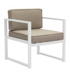 Golden Beach Arm Chair White & Taupe (703810) - Zuo Modern