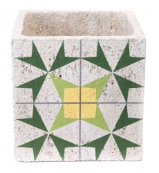 Cement Arrow Planter Green & Yellow (A10408)