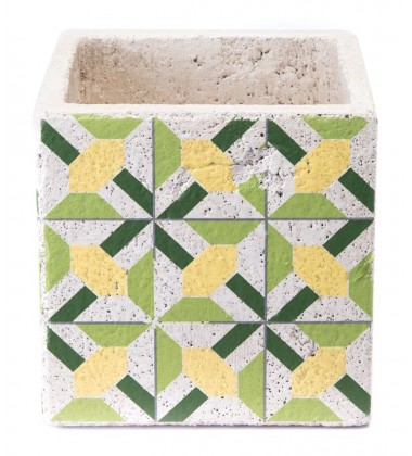 Cement Flower Planter Green & Yellow (A10409)