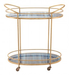 Zaphire Bar Cart Blue & Antique Gold (A10807)