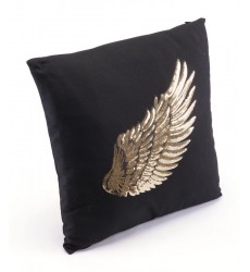 Metallic Wings Set Of 2 Pillows Black & Gold (A11093)