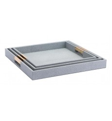 Camba Lizard Skin Set of 3 Trays Gray (A11133)
