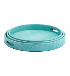 Catania Lizard Skin Set of 3 Round Trays Aqua (A11137)