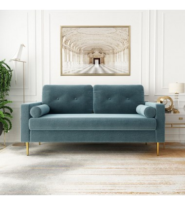 Sofa-In-A-Box Velvet Sofa Light Steel Blue (QH-8092A38 LIGHT STEEL BLUE)