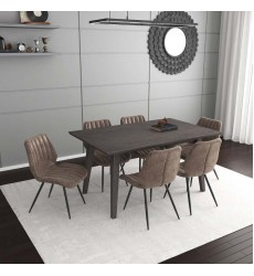Ashland/Aspira Bn-7Pc Dining Set (207-311GY/342BN)