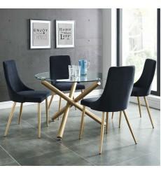 Carmilla Dining 5Pc Set-Chair Black (207-353GD_BK) - Worldwide HomeFurnishings