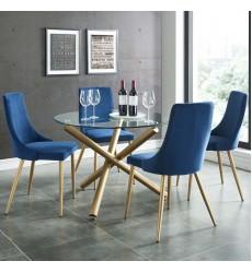 Carmilla Dining 5Pc Set-Chair Blue (207-353GD_BLU) - Worldwide HomeFurnishings