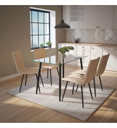 Abbot Bk/Nora Be-5Pc Dining Set (207-453BK/538BG) - Worldwide HomeFurnishings