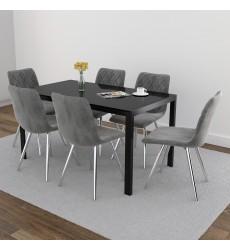 Contra Bk/Marlo Gy-7Pc Dining Set (207-843BK/110GY) - Worldwide HomeFurnishings