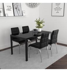 Contra Bk/Solara Bk-5Pc Dining Set (207-843BK/160BK) - Worldwide HomeFurnishings