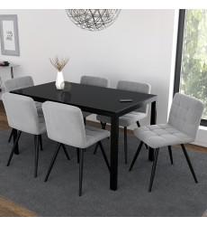 Contra Bk/Suzette Gry-7Pc Dining Set (207-843BK/476GY) - Worldwide HomeFurnishings